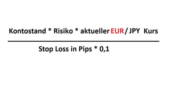 Formel Positionsgrößenrechner EURJPY